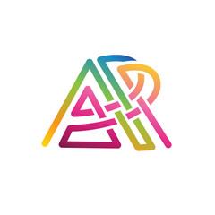 letter AP line art color gradient