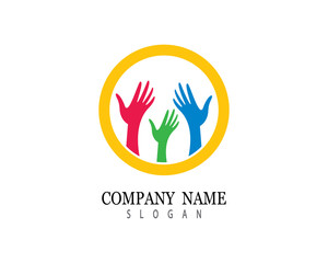 Hand help logo template vector icon illustration design