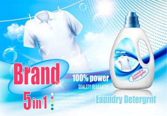 Laundry detergent ad. Design template. Plastic bottle  and white shirt on rope.  Vector