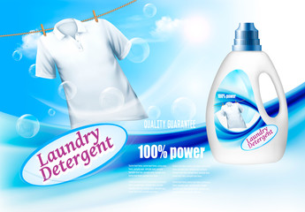 Laundry detergent ads. Plastic bottle  and white shirt on rope. Design template. Vector