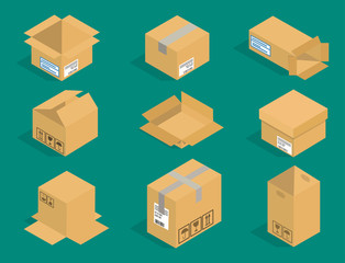 Different box vector isometric icons isolated pack move service or gift container packaging illustration