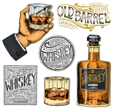 Vintage American whiskey badge. Alcoholic Label with calligraphic elements. Hand drawn engraved sketch lettering for t-shirt. Classic frame for bottle poster banner. Glass with strong drink.