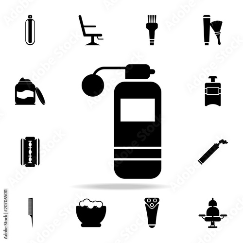 perfume with sprayer icon  Detailed set of barber tools  Premium