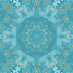 Elegant turquoise and blue meditation mandala. Kaleidoscopic flower. Creative pattern for any printed production, print on fabric, canvas, paper and ceramic. Template for decoration of design products