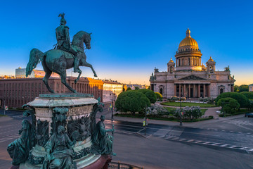Saint Petersburg. Monument to Alexander the second. Russia. St. Isaac's Square in St. Petersburg. Saint Isaac's Cathedral. Architecture of Russia. Summer in St. Petersburg.