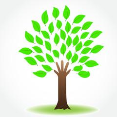 Logo tree hand nature health icon vector image