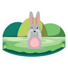 cute rabbit in the grass over white background, vector illustration