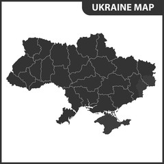 The detailed map of Ukraine with regions or states. Administrative division. Crimea, part of Donetsk and Lugansk regions is marked as a disputed territory