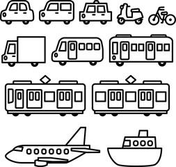 車と電車の手書きイラストセット , Adobe Stock でこのストック