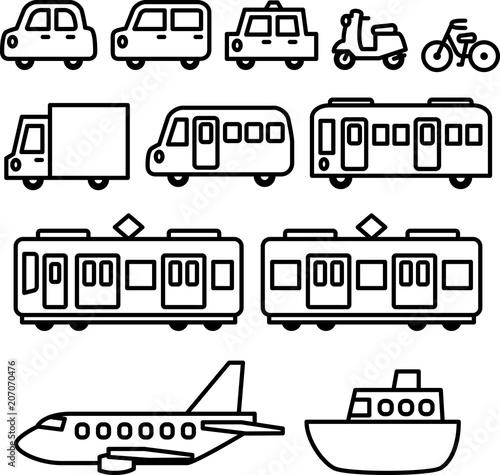 乗り物の線画イラストセットfotoliacom の ストック画像とロイヤリティ