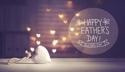Father's Day message with a white heart with heart shaped lights