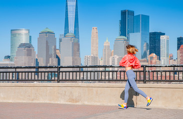 Healthy lifestyle. Woman is running in New York City