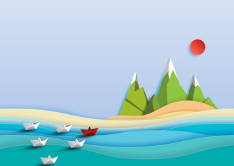 Paper boats sailing on the sea.Business teamwork and leadership concept.Paper art vector illustration.