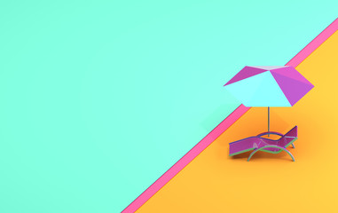 Summer banner with a chaise lounge and an umbrella in pastel colors, Abstract the summer image