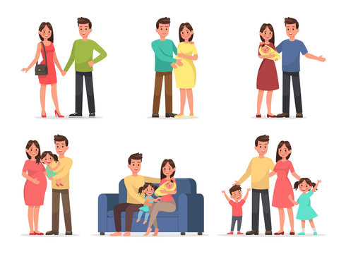 family character vector design set