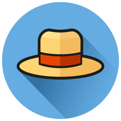 hat circle blue flat icon