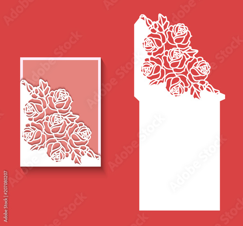 paper greeting card with lace border pattern of roses cut out