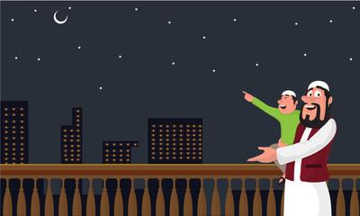 Ramadan Mubarak celebration concept with Islamic man and boy straing crescent moon.
