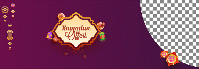 Web header or banner design with stylish text Ramadan Offer and space for your product.