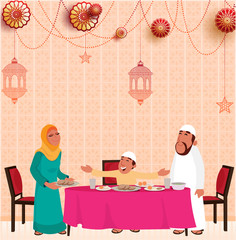 Iftar celebration concept with Islamic family enjoying feast and hanging lanterns.