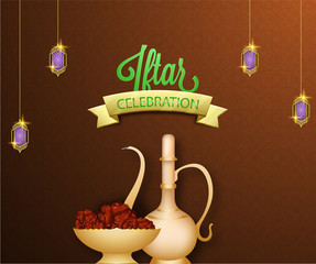 Iftar celebration conceot with dates and drink on brown background.