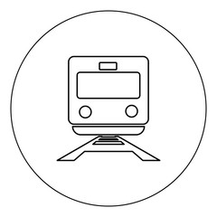 Train icon black color in circle vector illustration isolated