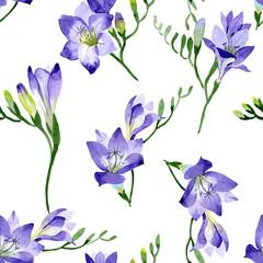 Purple freesia. Seamless background pattern. Fabric wallpaper print texture. Aquarelle wildflower for background, texture, wrapper pattern, frame or border.