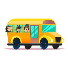 Flat vector school bus. School kids riding a schoolbus. Back to school vector flat concept. Happy schoolchildren are watching from windows.