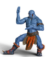blue fire ogre in white background