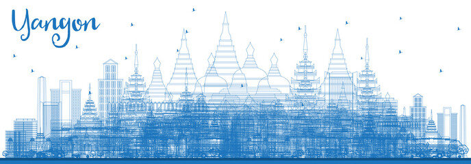 Outline Yangon Skyline with Blue Buildings.