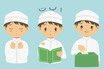 Muslim kids cartoon vector set. Muslim boy praying, reading Quran, and  giving sadaqah or charity