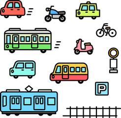 車と電車の手書きイラストセット Adobe Stock でこのストックベクター