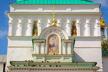 Architecture details of Holy gates in Sergiyev Posad, Russia