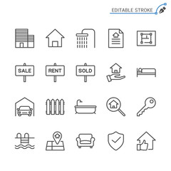 Real estate line icons. Editable stroke. Pixel perfect.