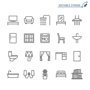 Home furniture line icons. Editable stroke. Pixel perfect.