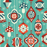 Vintage Christmas Ornaments Seamless Vector Background Hand Drawn Repetitve Pattern Perfect For Fabric