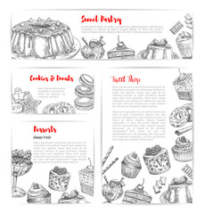 Cake and pastry shop sketch banner template set