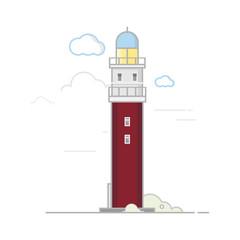 Lighthouse.Flat design.Vector illustration.