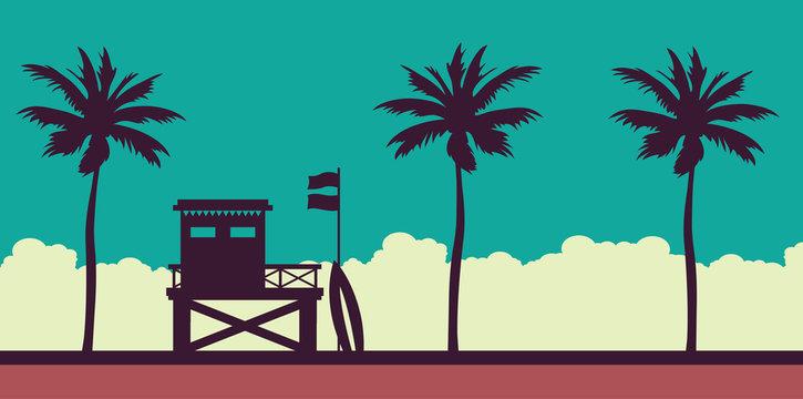 Lifeguard station, sea, sunset sky and beach.