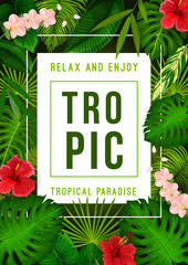 Tropical summer exotic palm leaf and flower banner