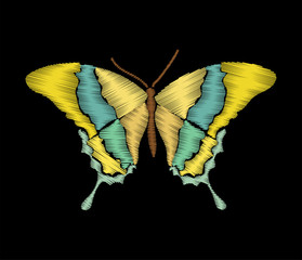 Colorful butterfly in embroidery stitches style on black background