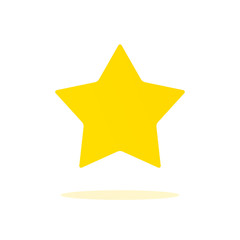 Yellow rating star icon. Golden bookmarck sign