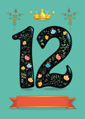 Sparkling Floral Number Twelve with Golden Crown