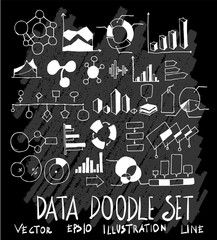 Hand drawn Sketch doodle vector Data set on Chalkboard eps10