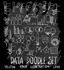 Hand drawn Sketch doodle vector Data set on Chalkboard eps10