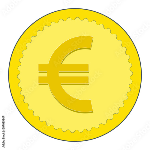 Euro Coin In Flat Style European Money Symbol Vector Stock Image