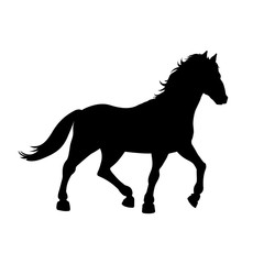 Black silhouette of galloping horse on white background. Wild mustang icon. Detailed isolated image. Vector illustration