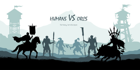 Black silhouette of battle orcs and humans. Fantasy landscape. Medieval 2d panorama. Knights and warriors fighting scene. Panorama with towers. Vector illustration