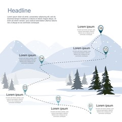 Winter ski resort, route infographic. Layers of mountain landscape with fir forest. Vector illustration.
