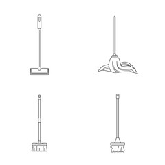Mop cleaning swab icons set. Outline illustration of 4 mop cleaning swab vector icons for web